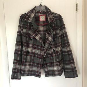 Old Navy M plaid Pea coat